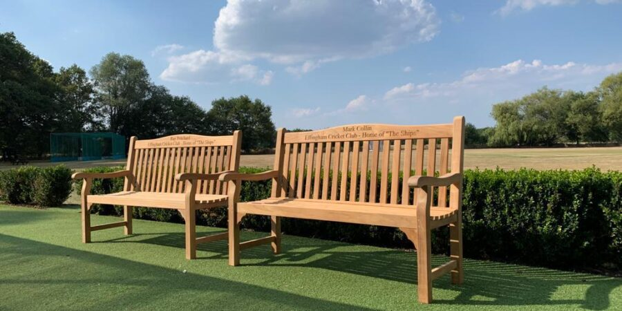 Two new engraved benches at the club in memory of our friends Ray Pritchard and Mark Collin